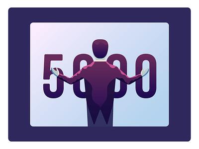 5k Followers! icon illustration celebrate follower