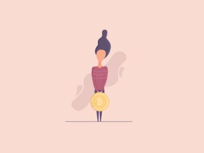 Girl Carrying Bitcoin