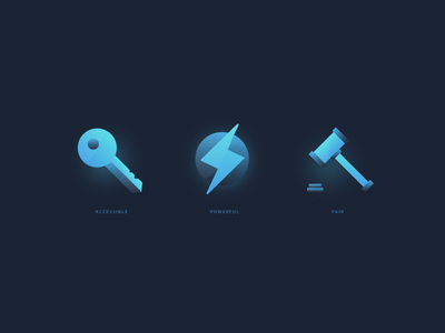 Crypto Icons rule law justice hammer icon thunder power accessible key
