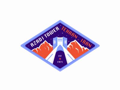 Azadi Tower Badge illustration icon badge design tehran badge persian iran tehran azadi tower