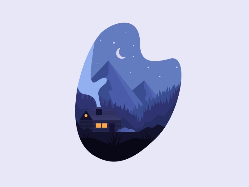 Chill Night illustration mountains nature chill cottage smoke night woods house