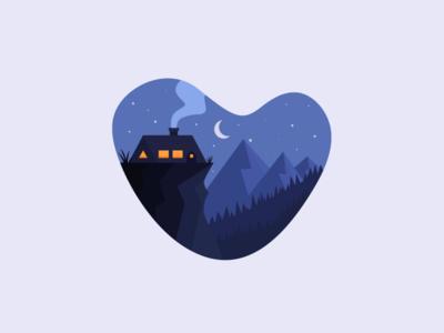 Chill Night 3 sydney illustration mountains nature chill cottage smoke night woods house