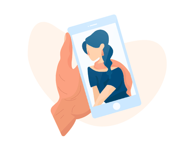 Crush On illustration palm female crush hair hand picture phone woman girl