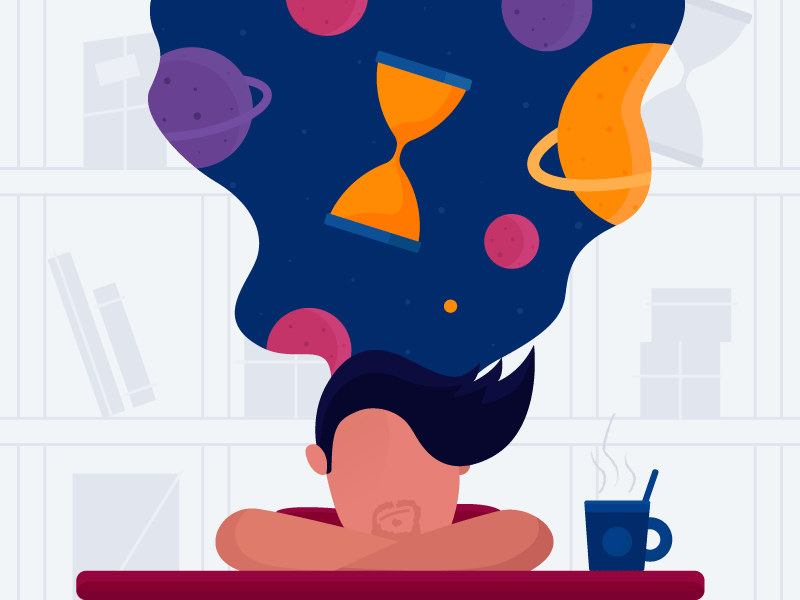 Overthinking libray character coffe space illustration timetravel time overthinking thinking