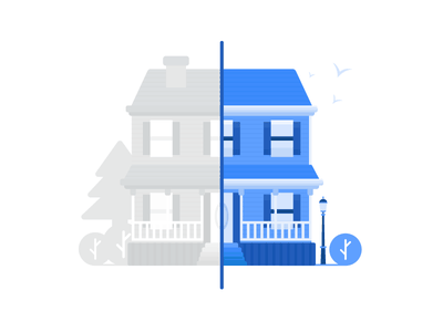 Renovation house illustration icon apartment plant alley house real estate property illustration