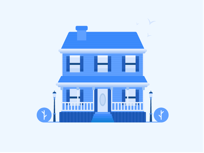 Blue House icon renovation house illustration blue plant real estate alley apartment property house illustration