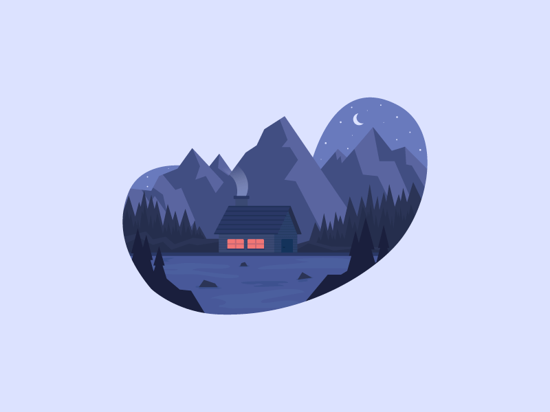 Chilled Night 2d design icon illustration cottage smoke moon night lake pine tree tree wood woods mountain mountains
