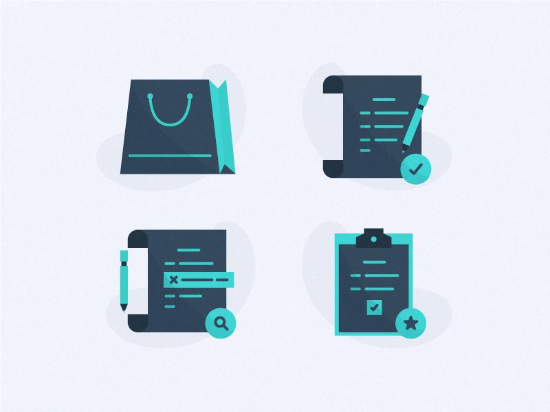 Order Icons spot illustration illustration icon icon design e-commerce online shopping tasks task correct correction ordering order list order shopping bag shop shopping