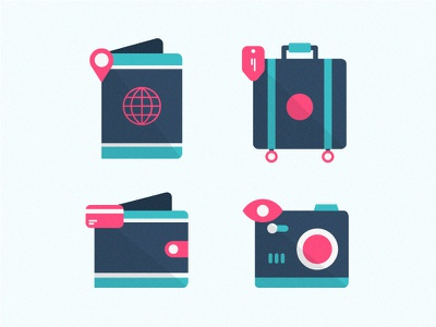 Traveling Icons illustration icon photography airport luggage holiday vacation camera passport