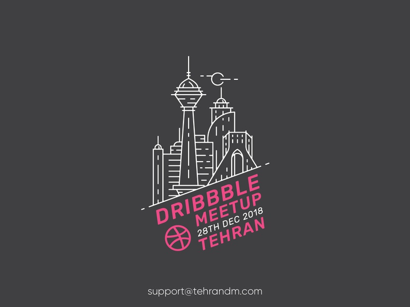 Tehran First Dribbble Meetup illustration outline logo tehran dribbble meetup persian dribbble meetup iran badge azadi tower milad tower meetup tehran