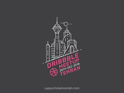 Tehran First Dribbble Meetup illustration outline logo tehran dribbble meetup persian dribbble meetup iran badge azadi tower milad tower meetup tehran