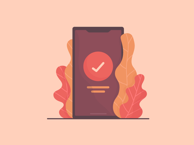 Phone Successful successful tick iphone pot plant interaction success icon illustration