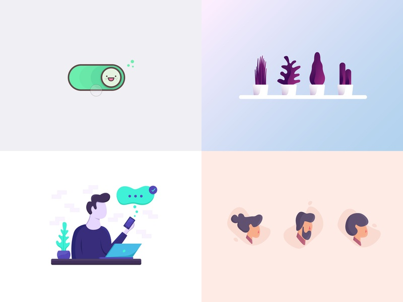 Best of 2018 interaction illustration icon notification character pot toggle