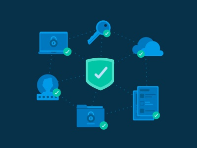 Deputy - Security for Enterprise security encryption secure cloud shield protect password document laptop locked icon illustration