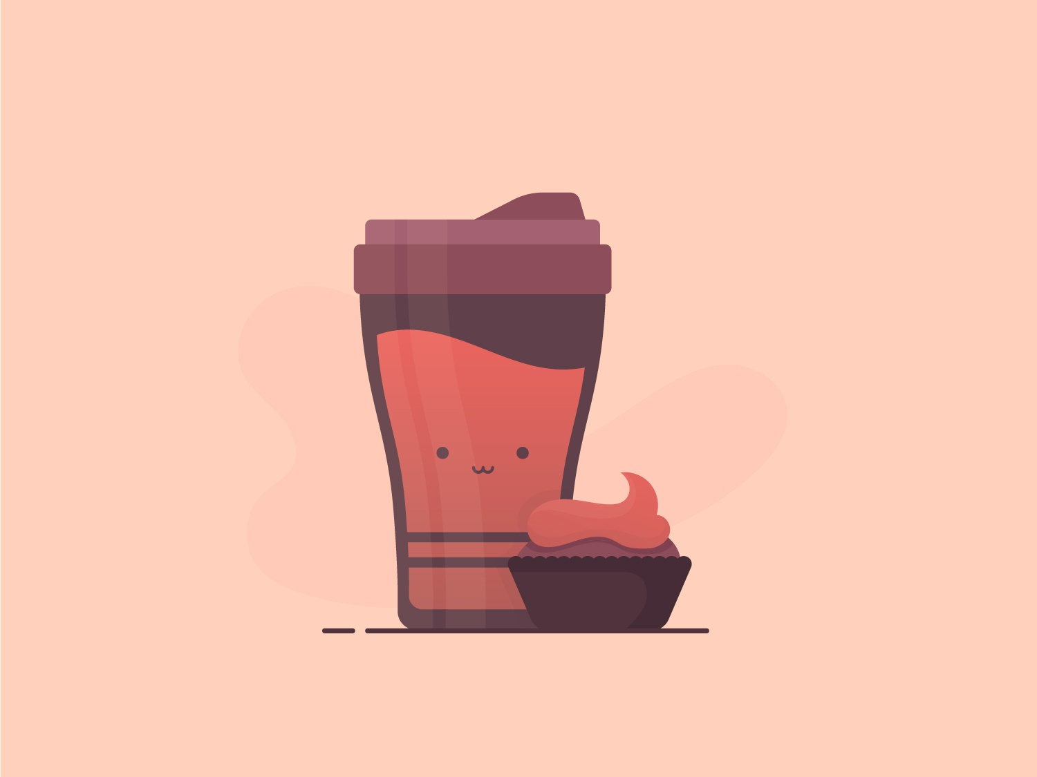 Coffee Cup illustration coffee cup cup bottle sweet meal breakfast cake cupcake coffe