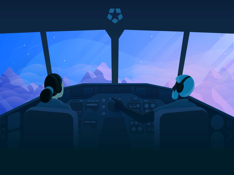 Copilot: Deputy Design System deputy airplane character sky sunrise mountain design system design cockpit copilot plane pilot