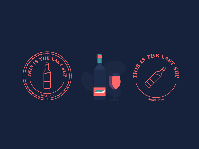 Last Sup: Concept wine bottle wine label winery sticker line logo red wine drink sup badge wine