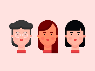 Girl Characters 1 portrait face illustration icon design character design women woman lady teacher character girl character character girl