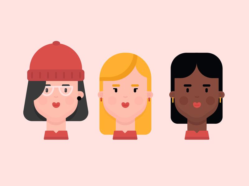 Girl Character 2 character design earings diversity black girl characters blond girl student girl beanie