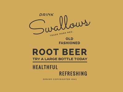 Swallows Root Beer webfonts typography type css web vintage