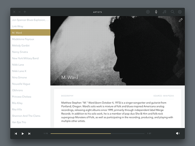 Voltra Player —Artists app ux ui music player music