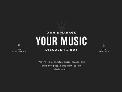 New Voltra Website music black and white typography website