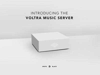 Voltra Music Server gadgets tech white product rendering 3d web design website
