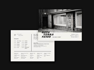 Data Terra Nemo Postcard black and white retro decentralization conference berlin radio vintage print branding card postcard