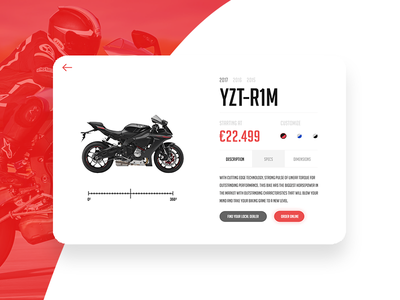 Thirty UI #2 Yamaha YZF-R1M card¨ ¨product website ux ui kat¨ ¨kit ¨30 ui¨ ¨thirty