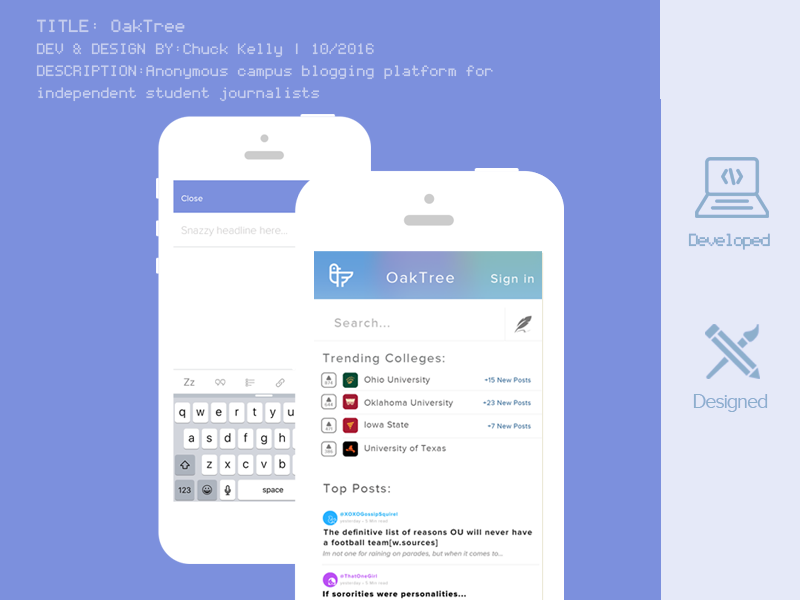 Oaktree | Home mobile ui app purple blue blogging anonymous college social mobile