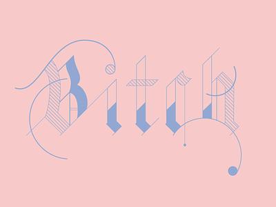Pink B playful blackletter gothic freelance san diego graphic design serenity rose quartz pantone illustration lettering