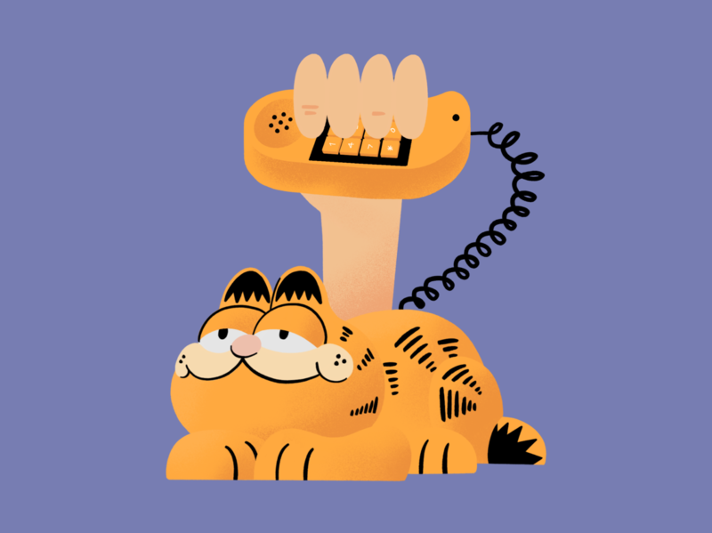 Get Me Garfield! cat procreate holding phone retro garfield illustration