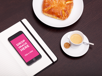 An iPhone 6S with a quark turnover and espresso