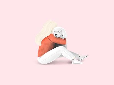 Sad Tezi cry tezigrooming illustration dog sad
