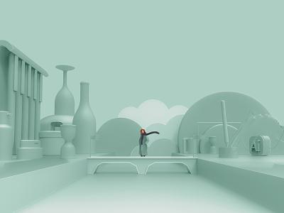 Two ways Minton's cup wine bottle cloud green wacom design illustration illustrator ai mockup 3ds