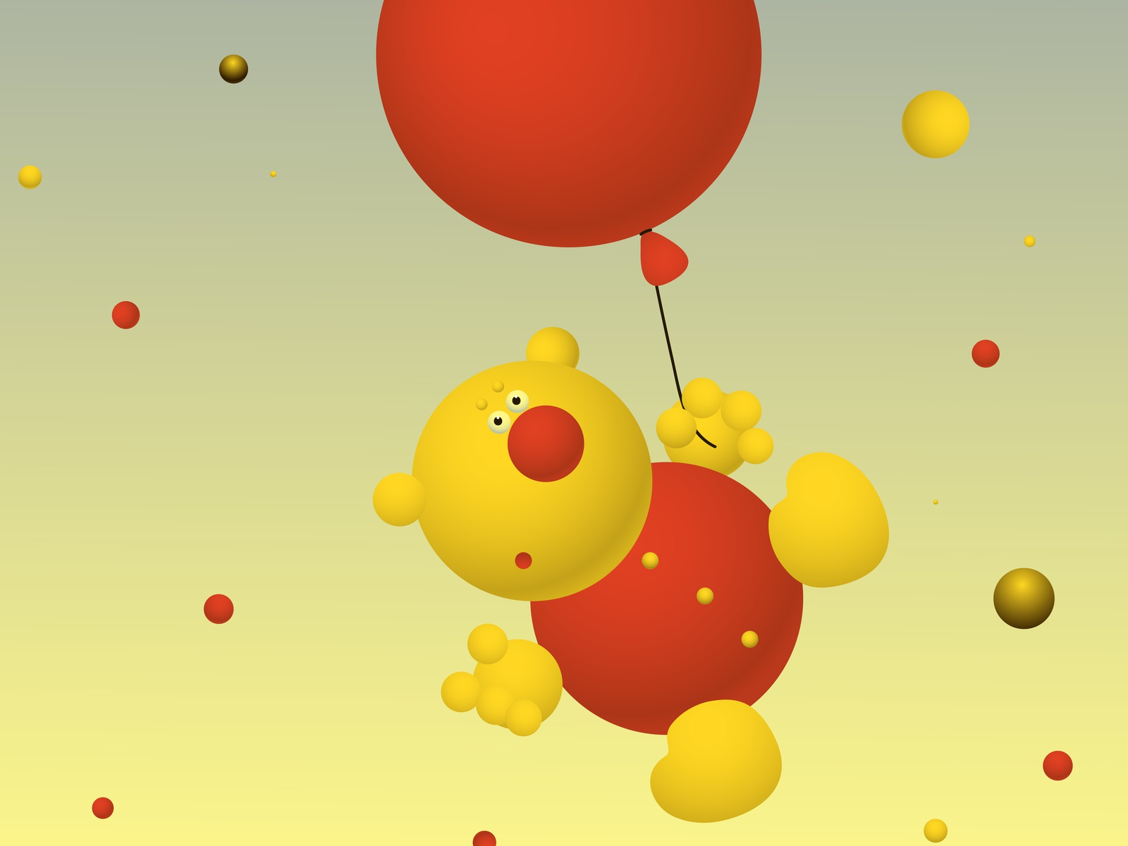Do not relax!) яркий фантазия иллюстрация balloon bear