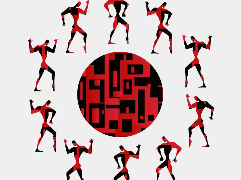 """Poster Collection Suprematism. """"Hike"""" плакат символ театр танец костюм идея красный черный силуэт абстракция иллюстрация яркий"""