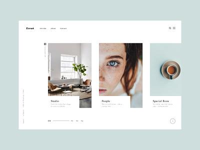 Article carousel design portrait website ux fun ui typography
