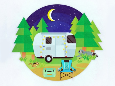 Happy Camper wild squirrel racoon cooler night moon woods campers airstream camper camping nature outside graphic vector