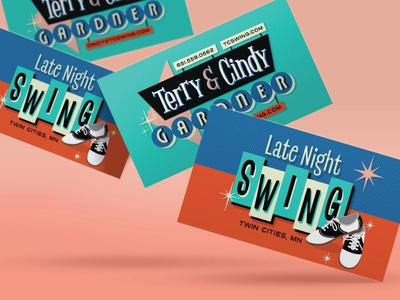 Late Night Swing - Business Cards business card design retro design designs saddle shoes shoes dance music dancing dance swing dance 50s vintage 1950s retro design cards logo design branding business cards