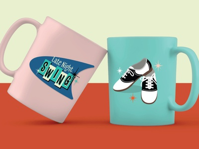 Late Night Swing - Merch vintage retro 1950s dancing dance logo design icon shoes logodesign logo vector brand identity branding design branding coffee mug mug