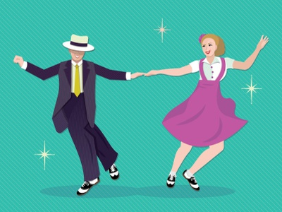 Swing Dancers vintage music retro 1950s swing dance swing performers dancing dancers illustration digital digital art vectorart vector art drawing illustration