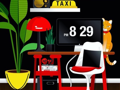 Work From Home graphic designer graphic design mid century retro orange cat cat bullet planter bird of paradise plant work from home office digital art vector artwork vector artist vector art illustration desk