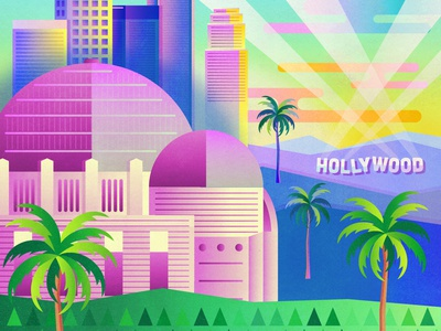 Hollywood vector artist vector art print vector illustration art hollywood hills hollywood sign palm trees dtla downtown griffith observatory griffith park west coast california losangeles hollywood