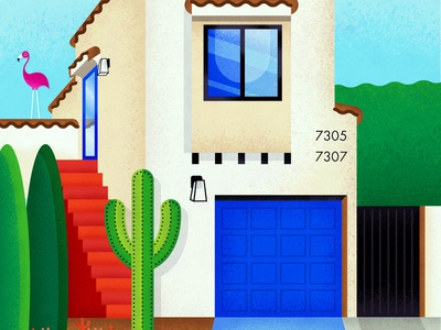 West Hollywood digital art vector art house illustration digital illustration digitalart drawing vectorart illustration vector cactus flamingo plants architecture home california los angeles hollywood west hollywood house