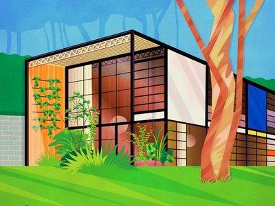Eames House design modern architecture design vector art drawing vectorart art digital art illustration vector california los angeles architecture house eames house eames
