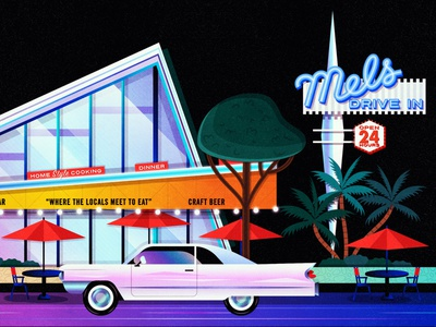 Mels Drive-In restaurants neon sign cadillac car 1950s fan art digital illustration vector digital art architecture modern mid century modern mid century west hollywood hollywood illustration diner mels drive-in mels