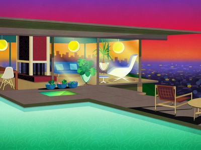 The Stahl House vector illustration print digital illustration drawing fan art vectorart digital art illustration vector sunset california hollywood los angeles modern house mid century home mid century modern mid century stahl house the stahl house