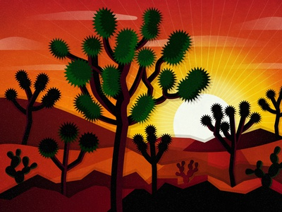 Joshua Tree Sunset vector art digital art nature sunset desert vector illustration vectorart vector illustration design art print california national parks joshua tree national park national park joshua tree