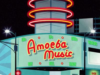 Amoeba Music los angeles neon neon sign vector art fan art vectorart vector digital illustration digital art illustration art fanart music record shop record store sunset boulevard sunset blvd hollywood amoeba music amoeba